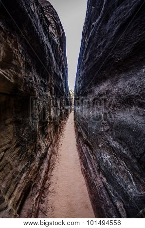 Hiking Trail In A Narrow Slot Canyon