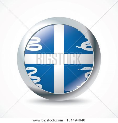 Martinique flag button - vector illustration