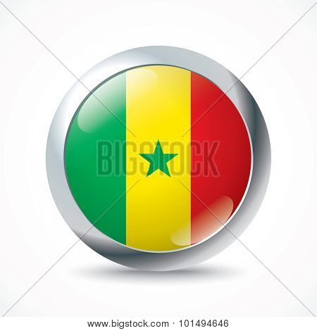 Senegal flag button - vector illustration