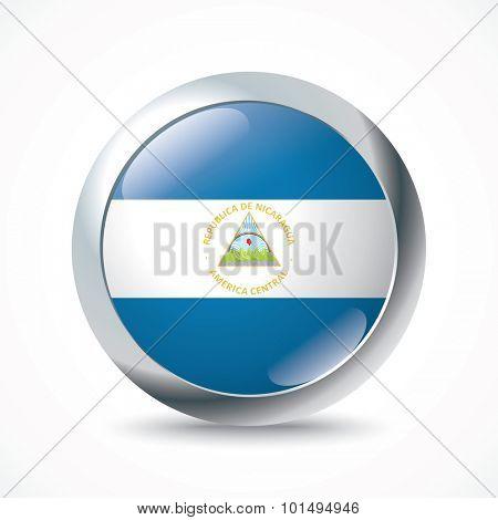 Nicaragua flag button - vector illustration