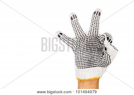 Hand In Industrial Glove Gesturing Okay Against White Background.