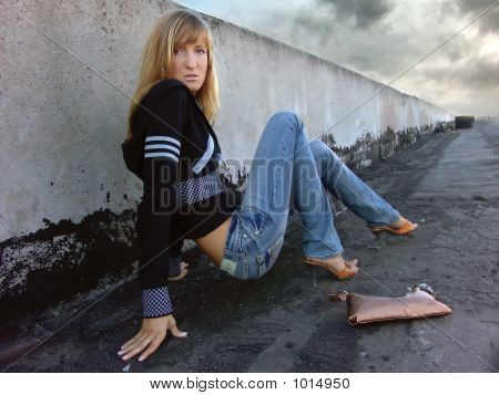 Fashion Girl Posing On The Roof