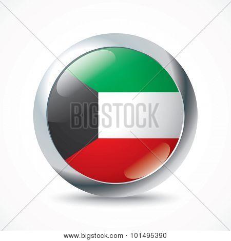 Kuwait flag button - vector illustration