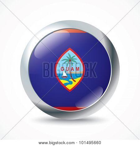 Guam flag button - vector illustration