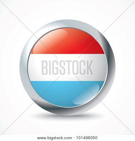 Luxembourg flag button - vector illustration