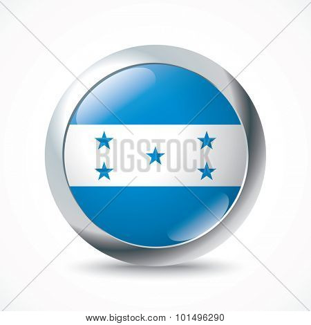 Honduras flag button - vector illustration