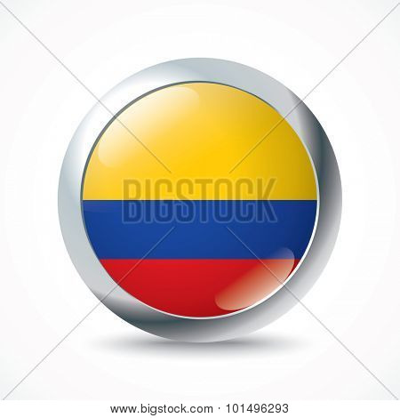 Colombia flag button - vector illustration