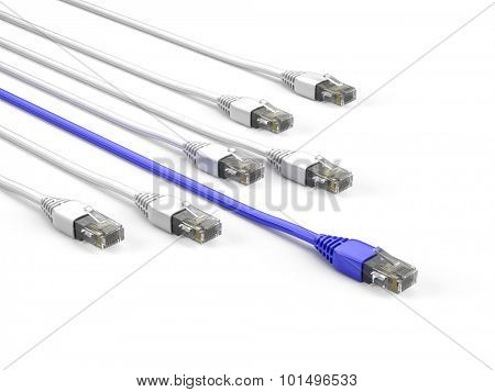 Ethernet Cables on white background