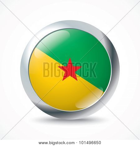 French Guiana flag button - vector illustration
