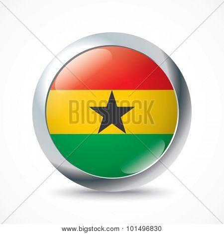Ghana flag button - vector illustration