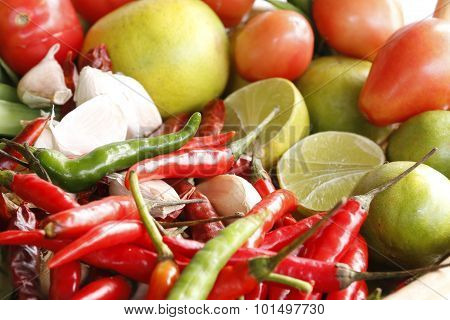 colorful of Thailand 's vegetables,chili and lemon.