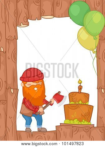 Frame Illustration of a Lumberjack About to Chop the Cake with an Axe