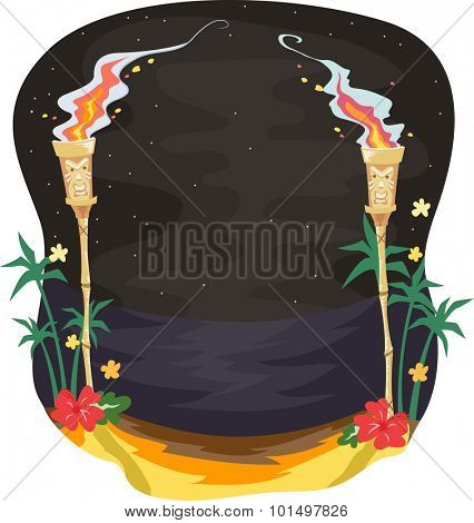 Illustration of a Pair of Tiki Torches Lighting the Path Towards the Beach