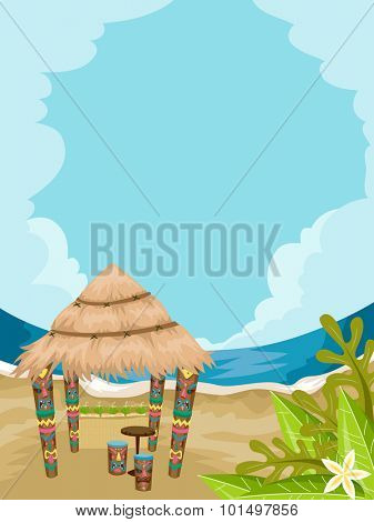 Illustration of a Tiki House in Front of a Stunning Beach