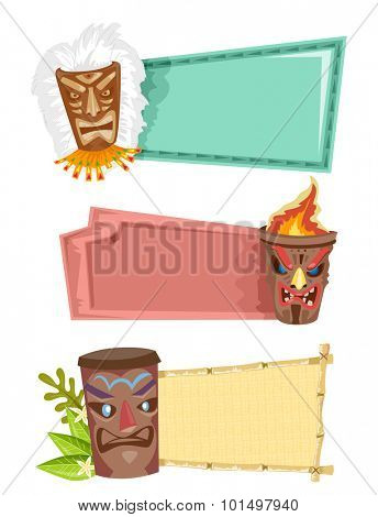 Illustration of Blank Banners Decorated with Tiki Statues