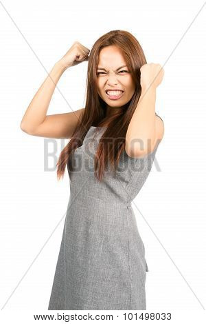 Disappointed Asian Girl Temper Tantrum Fists Ball