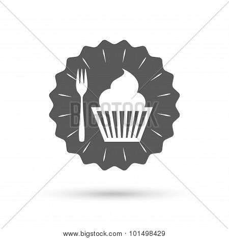 Eat sign icon. Dessert fork with muffin.
