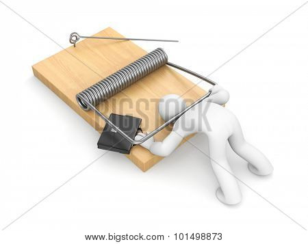 Businessman on mousetrap