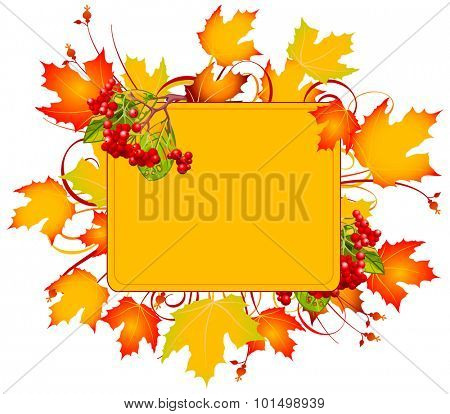 Falling Autumn Leaves background with copy space