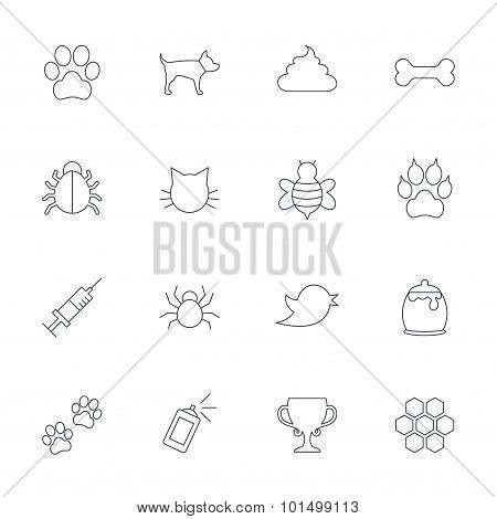 Pets and Insect icon. Dog, Cat paw with clutches