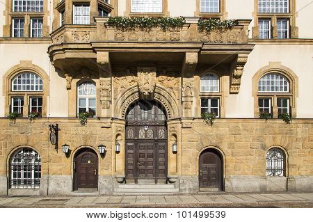 Entrance Of The Town Hall Of Werdau, Germany