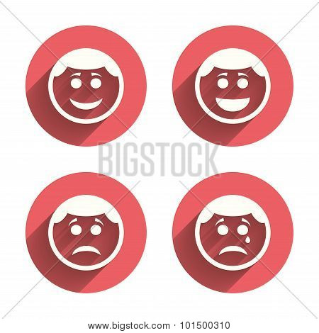 Circle smile face icons. Happy, sad, cry.