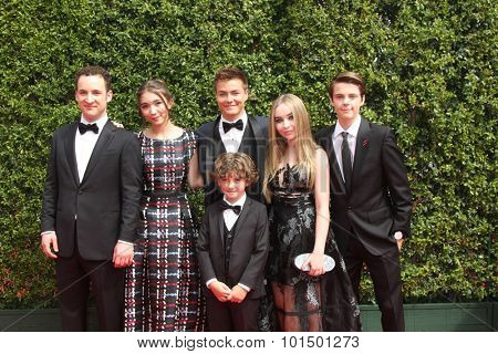 vLOS ANGELES - SEP 12:  Ben Savage, August Maturo, R Blanchard, P Meyer, Sabrina Carpenter, C Fogelmanis at the Creative Emmy Awards  at the Microsoft Theater on September 12, 2015 in Los Angeles, CA