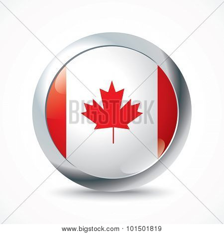 Canada flag button - vector illustration