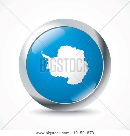 Antarctica flag button - vector illustration