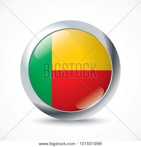 Benin flag button - vector illustration