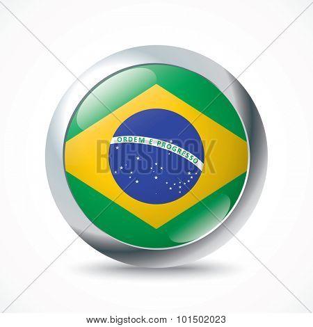 Brazil flag button - vector illustration