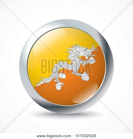 Bhutan flag button - vector illustration