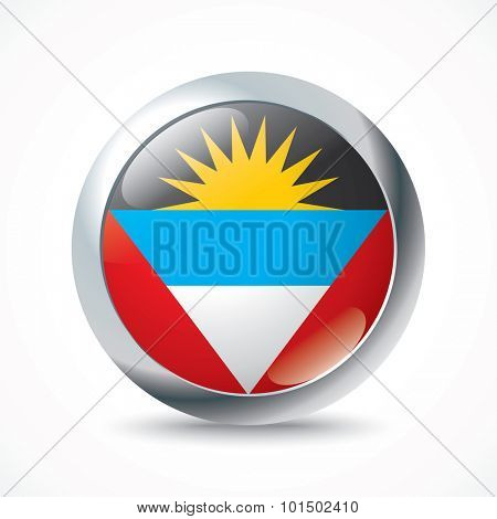 Antigua and Barbuda flag button - vector illustration