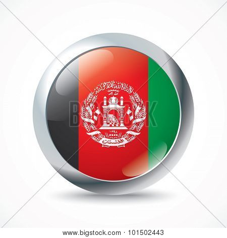 Afghanistan flag button - vector illustration