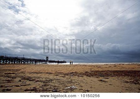 Seal Beach Pier during rain storm