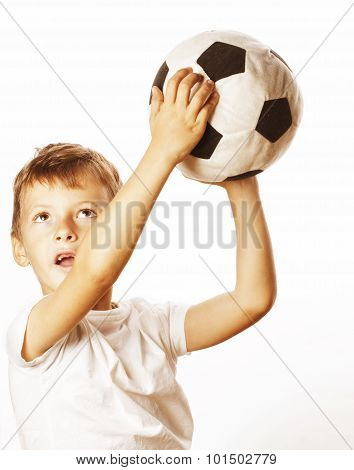 little cute boy playing football ball isolated close up