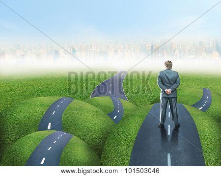 Businessman on a road fork