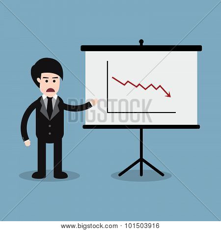 Stock Crisis With Business Man And Presentation Board