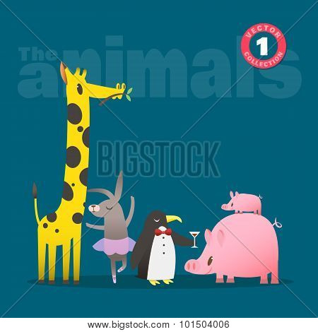 Cute Animals Cartoon Including Pig Piglet Giraffe Rabbit And Penguin