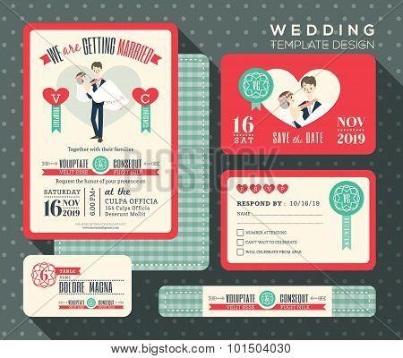 Groom Carrying Bride Cartoon Retro Wedding Invitation Set Design Template