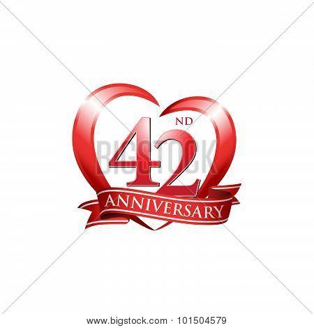 42nd anniversary logo red heart ribbon