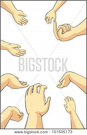 Vector Illustration Of Many Cartoon People Hands Trying To Grab, Take, Or Request Something They Wan