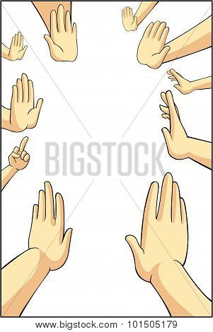 Vector Illustration Of Many Cartoon People Hands Trying To Refuse, Reject, Or Say No For Something T