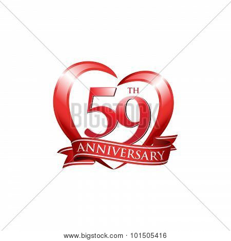 59th anniversary logo red heart ribbon