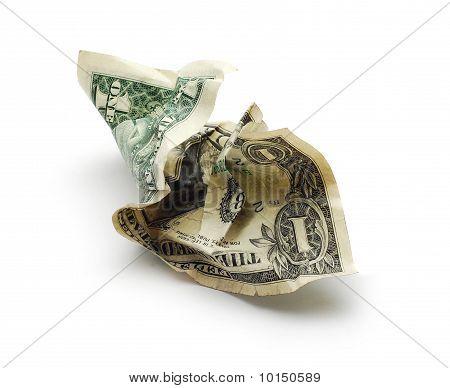 crinkled money