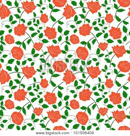 Rose Red Colorful Seamless Pattern White Background