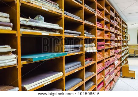 BANGKOK, THAILAND - 10 SEPTEMBER : Row of bookshelves in a public library of Thammasat University on