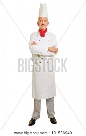 Full body shot of chef cook in workwear with his arms crossed