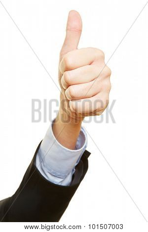 Hand of a business winner holding thumbs up
