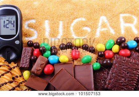 Glucometer, Cane Brown Sugar And A Lot Of Sweets